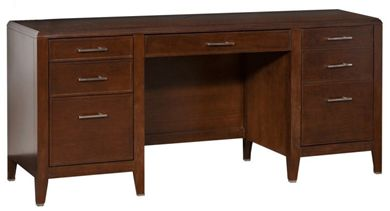 "Picture of 68"" Double Pedestal Kneespace Credenza"