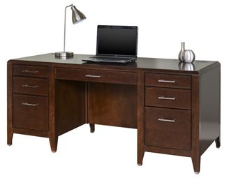 "Picture of 68"" Double Pedestal Veneer Office Desk Workstation"