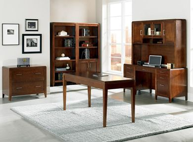 Picture of Veneer Office Desk Workstation with Bookcases and Lateral File