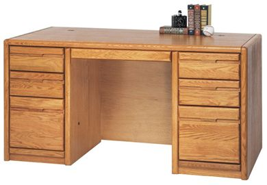 "Picture of Contemporary 60"" Double Pedestal Desk Workstation"