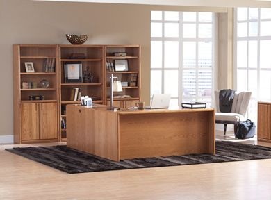 Picture of Contemporary L Shape Office Desk Workstation with Bookcase Center