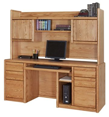 Picture of Contemporary Kneespace Credenza Workstation with Partial Closed Overhead Storage Hutch