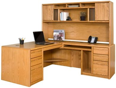 Picture of Contemporary L Shape Office Desk Workstation with Overhead Storage Hutch
