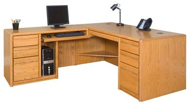 Picture of Contemporary Veneer L Shape Office Desk Workstation, Left Hand