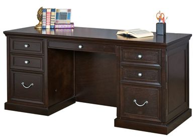 """Picture of Traditional 68"""" Double Pedestal Kneespace Credenza"""