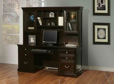 "Picture of Traditional 68"" Double Pedestal Kneespace Credenza with Glass Door Overhead Storage Hutch"