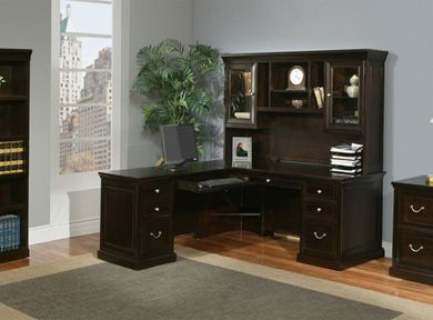 Picture of Traditional L Shape Office Desk Workstation with Glass Door Overhead Storage, Left Hand
