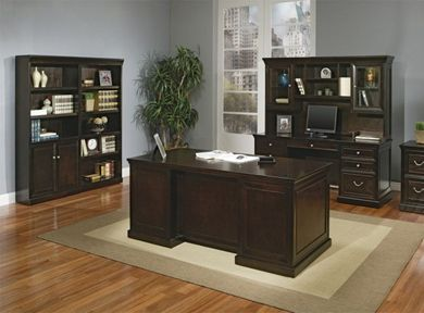 Picture of Traditional Executive Desk Set with Kneespace Credenza, Overhead Storage and Bookcase Center