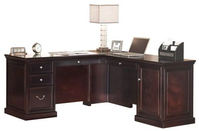 "Picture of Traditional 66"" L Shape Office Desk Workstation with Pull-Out Tray"