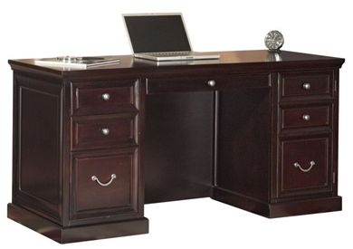 "Picture of Traditional 60""W Double Pedestal Office Desk Workstation"