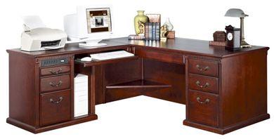 Picture of Transitional Veneer L Shape Office Desk Workstation, Left Handed