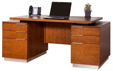 Picture of Sleek Contemporary Veneer Double Pedestal Office Desk Workstation