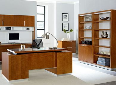 Picture of Sleek Contemporary Veneer Desk Set with Credenza, Hutch, Lateral File and Bookcases