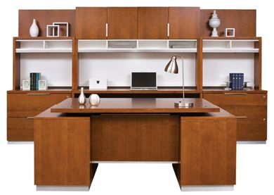 Picture of Sleek Contemporary Veneer Executive Desk, Credenza with Overhead Storage and Lateral Files with Hutches