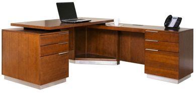 Picture of Sleek Contemporary Veneer L Shape Office Desk Workstation