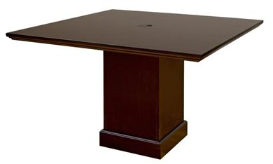 """Picture of Rich Veneer 48"""" Square Expandable Conference Table"""