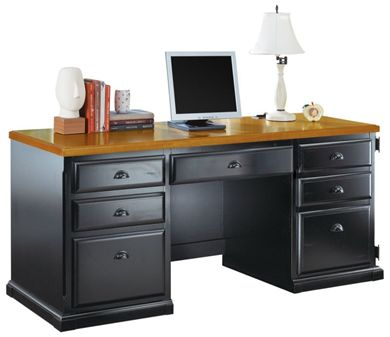 """Picture of Hardwood 68""""W Knee Space Computer Credenza"""