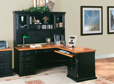 Picture of Hardwood L Shape Office Desk Workstation with Glass Door Hutch