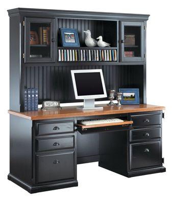 """Picture of Hardwood 68""""W Double Pedestal Desk with Glass Door Overhead"""