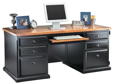 """Picture of Hardwood 68""""W Double Pedestal Office Computed Desk"""