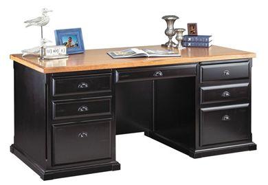 "Picture of Hardwood 68""W Double Pedestal Office Desk Workstation"
