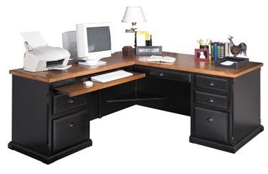 Picture of Hardwood L Shape Office Desk Workstation, Left Hand Facing