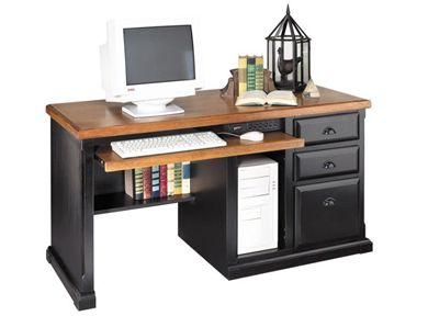 Picture of Hardwood Single Pedestal Computer Office Desk with CPU Storage