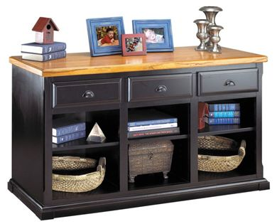 Picture of Hardwood Partial Open Storage Credenza with Drawers