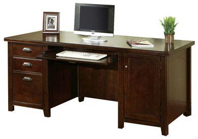 "Picture of Modern Wood 68""W Double Pedestal Office Desk Workstation"