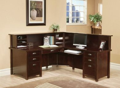 Picture of Modern Wood L Shape Reception Office Desk Workstation with Organizer Hutch