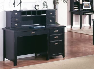 Picture of Modern Wood Single Pedestal Desk with Organizer Low Storage Hutch