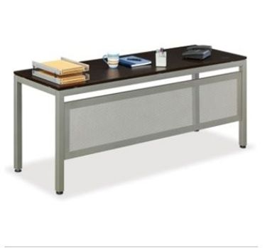 "Picture of Sleek Contemporary 24"" x 72"" Steel Base Laminate Table with Modesty"