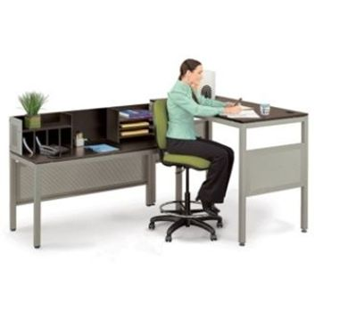Picture of Sleek Contemporary Standing Height L Table Desk with Organizer Hutch