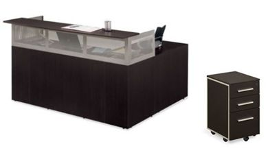 """Picture of Sleek Contemporary 72"""" Reception Desk with Left Return"""
