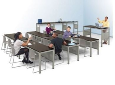 Picture of Training Room Suite, 3 Person Training Table with Instructor Table and Standing Height Tables