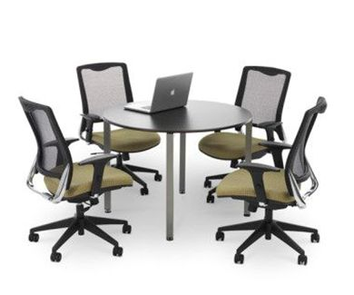 "Picture of Set of 4 Air Mesh High Back Office Task Swivel Chair with 42"" Meeting Table"