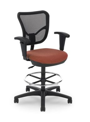 Picture of Air Mesh Office Task Petite Footring Stool Chair with Arms