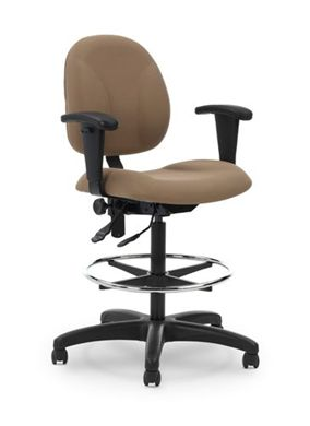 Picture of Ergonomic Office Task Footring Drafting Stool Chair with Adjustable Arms