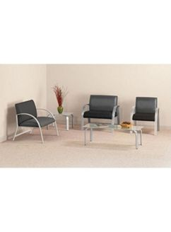 Picture of Contemporary Heavy Duty Lounge Reception Chair with Frosted Glass Coffee Table
