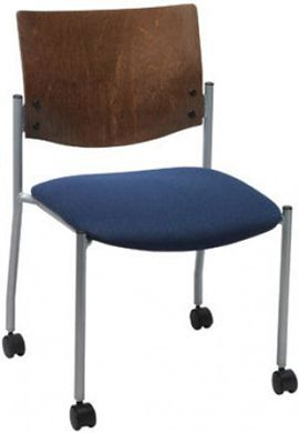 "Picture of  Metal Frame Armless Stack Chair with 1-1/2"" Contoured Seating And 2"" Dual Wheel Hooded Casters"