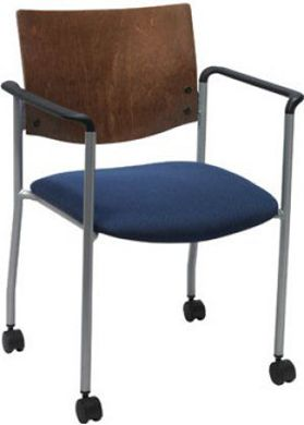 "Picture of  Metal Frame  Stack Chair with 1-1/2"" Contoured Seating And 2"" Dual Wheel Hooded Casters"