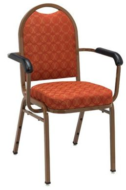 "Picture of Banquet Café Stack Chair with Arms And 2"" Upholstered Seat."