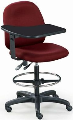 Picture of Multi Function Office Task Footring Drafting Stool Tablet Arm Swivel Chair