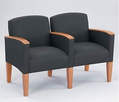 Picture of Wood Cap Reception Lounge 2 Chair Modular Tandem Seating