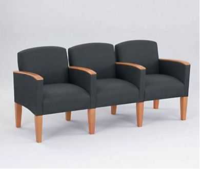 Picture of Wood Cap Reception Lounge 3 Chair Modular Tandem Seating