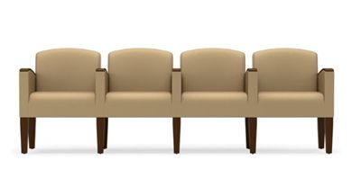 Picture of Wood Cap Reception Lounge 4 Chair Modular Tandem Seating