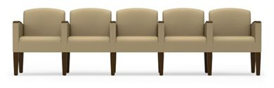 Picture of Wood Cap Reception Lounge 5 Chair Modular Tandem Seating
