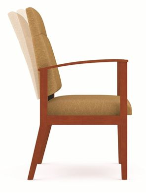 Picture of A Reception Lounge High Back Oversized Motion Wood Open Arm Guest Chair, 400 LBS.