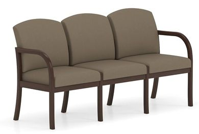 Picture of . Reception Lounge Transitional 3 Seat Modular Tandem Seating with Outer Arms