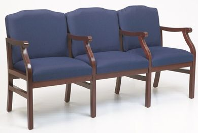 Picture of - Reception Lounge Traditional 3 Chair Modular Tandem Seating with Arms